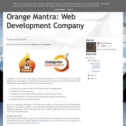 Orange Mantra: Web Development Company: How To Find The Perfect CodeIgniter Developer?