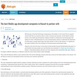 The best Mobile app development companies in Kuwait to partner with