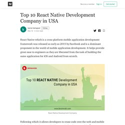 Top 10 React Native Development Company in USA - kamal damgwal - Medium