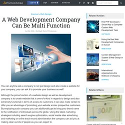 A Web Development Company Can Be Multi Function