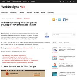 10 Best Upcoming Web Design and Development Conferences in 2011
