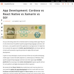 App Development: Cordova vs React Native vs Xamarin vs DIY
