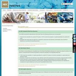 Halal Industry Development Corporation - Incentives