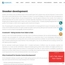 Snooker Development - Creatiosoft Solutions Private Limited