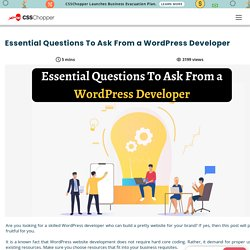 Must Ask These Question to WordPress Web Development Company India - CSSChopper