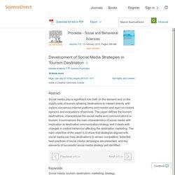 Development of Social Media Strategies in Tourism Destination