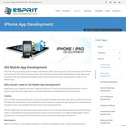 iPhone app development, ios,iphone developer, Esprit Solutions