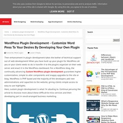WordPress Plugin Development - Customize Word Press To Your Desires By Developing Your Own Plugin - MindLogics Blog