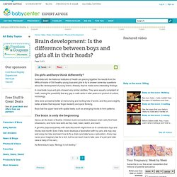 Brain development: Is the difference between boys and girls all in their heads?