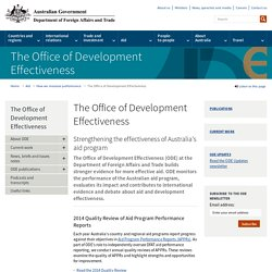 The Office of Development Effectiveness - Department of Foreign Affairs and Trade