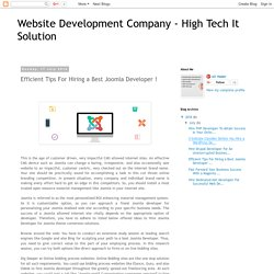 Website Development Company - High Tech It Solution: Efficient Tips For Hiring a Best Joomla Developer !