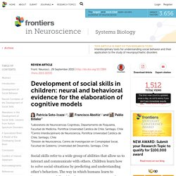 Development of social skills in children: neural and behavioral evidence for the elaboration of cognitive models