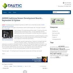 AS3935 Lightning Sensor Development Boards – September 21 Update