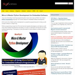 Micro & Master Python Development for Embedded Software