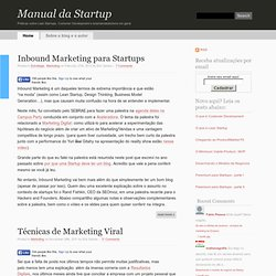 Lean Startups, Customer Development e Empreendedorismo Web