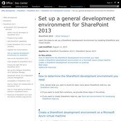 Set up a general development environment for SharePoint 2013