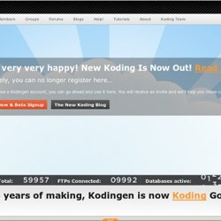 Kodingen - The Cloud Development Environment, Online Code Editor, Cloud Hosting, Web based access to file-system, ftp & svn integration
