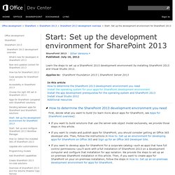 Setting Up the Development Environment for SharePoint 2010 on Windows Vista, Windows 7, and Windows Server 2008