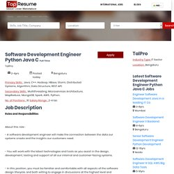 Software Development Engineer Python Java C jobs in Bengaluru for Array to Array years experience - TapResume.co.in