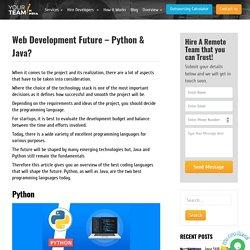Web Development Future – Python & Java?