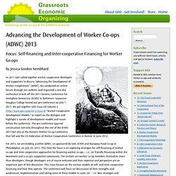 Advancing the Development of Worker Co-ops (ADWC) 2013