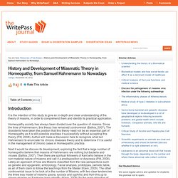 History and Development of Miasmatic Theory in Homeopathy, from Samuel Hahnemann to Nowadays