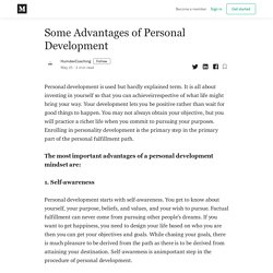 Some Advantages of Personal Development - HumdevCoaching - Medium