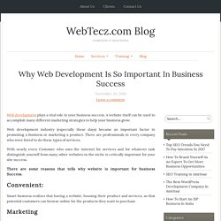 Why Web Development Is So Important In Business Success - WebTecz.com Blog