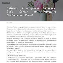 Software Development Company: Let's Create an Impressive E-Commerce Portal