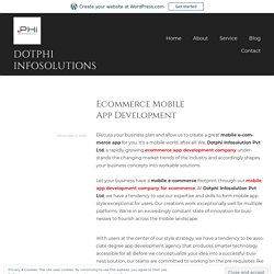 Ecommerce Mobile App Development – dotphi infosolutions