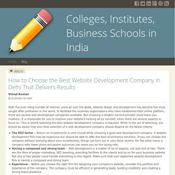 How to Choose the Best Website Development Company in Delhi That Delivers Results - Colleges, Institutes, Business Schools in India : powered by Doodlekit