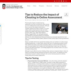 Tips to Reduce the Impact of Cheating in Online Assessment – NIU Faculty Development and Instructional Design Center Blog
