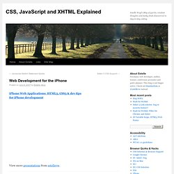 » Web Development for the iPhone :: CSS, JavaScript and XHTML Explained