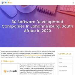30 Software Development Companies in Johannesburg, South Africa in 2020