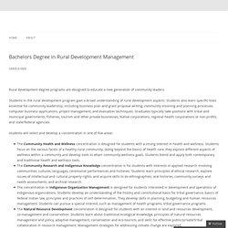Bachelors Degree in Rural Development Management