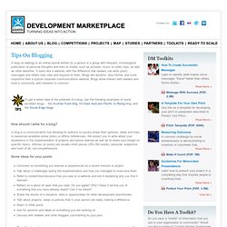 Tips on Blogging | WB Development Marketplace