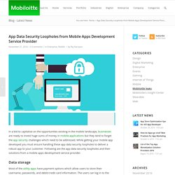App Data Security Loopholes from Mobile Apps Development Service Provider - Mobiloitte Blog