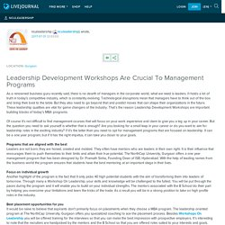 Leadership Development Workshops Are Crucial To Management Programs: nculeadership