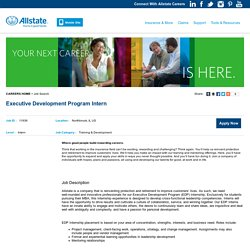 Executive Development Program Intern - Northbrook, IL - Allstate Careers