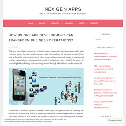 Importance of iphone app in business operations