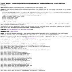 United Nations Industrial Development Organization: INDSTAT2 at ESDS International
