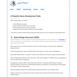 4 Powerful Game Development Tools