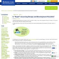 """» Is """"Rapid"""" eLearning Design and Development Possible?"""