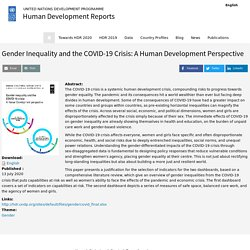 Gender Inequality and the COVID-19 Crisis: A Human Development Perspective