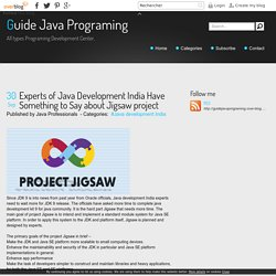 Experts of Java Development India Have Something to Say about Jigsaw project - Guide Java Programing