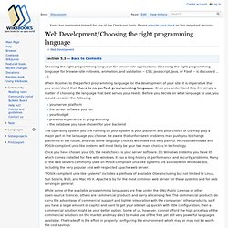 Web Development/Choosing the right programming language