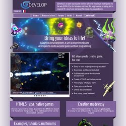 GDevelop: Open source game development software to create HTML5 and native game without programming.