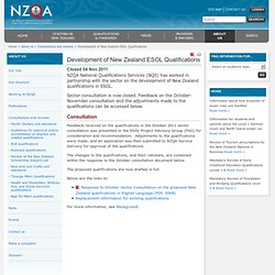 Development of New Zealand ESOL Qualifications