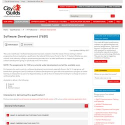 Software Development qualifications and training courses