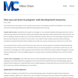 How you can learn to program: web development resources
